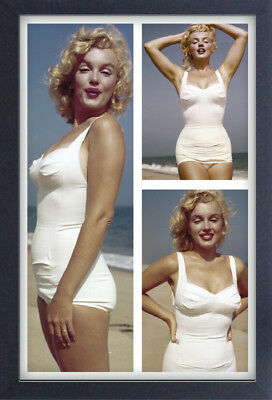 MARILYN MONROE BEACH TRIPTYCH 13x19 FRAMED GELCOAT POSTER ICONIC MODEL BEAUTIFUL