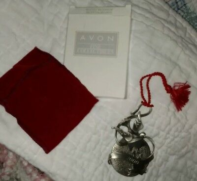 *NEW*AVON 2000 Holiday Pewter Ornament*PEACEFUL MILLENNIUM*NOS*VELVET POUCH*NIB*