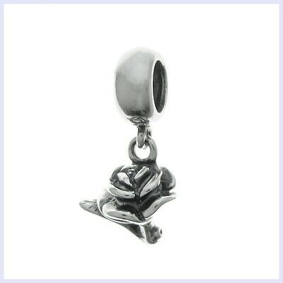 Sterling Silver Valentine Rose Flower Love You Bead for European Charm Bracelet