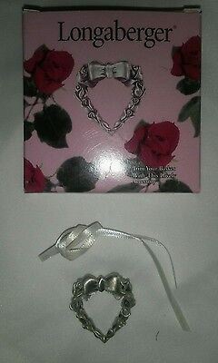 ☆☆Longaberger Pewter Heart Tie-On / Pin #72761 (1998) -  NEW ~FREE SHIPPING