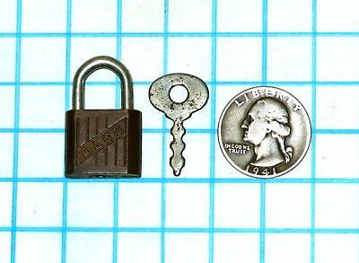 Vtg Old Miniature Small Odd Different ALCO Warded Luggage Padlock Lock and Key