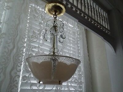Antique Art Deco Chandelier Light Fixture with 5 Crystals