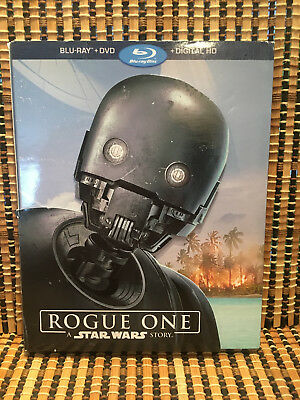 Rogue One: A Star Wars Story (3-Disc Blu-ray/DVD,2017)+K-2SO Gate-Fold Slipcover