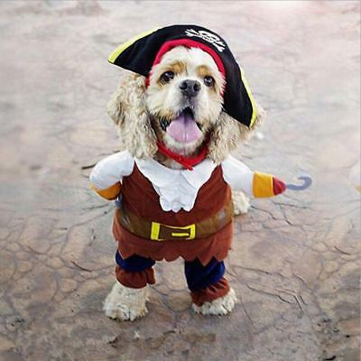 Pet Small Dog Cat Pirate Costume Outfit Jumpsuit Clothes Cosplay Fancy Dress Up