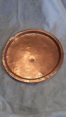 Antique Russian Hand Wrought Hammered Brass Copper Tray Mark