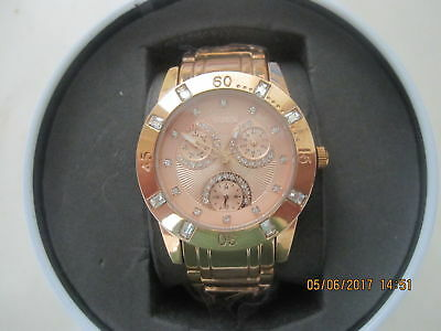 New Relic Watch By Fossil Zr15668 Women's Rose Gold Tone White Crystals