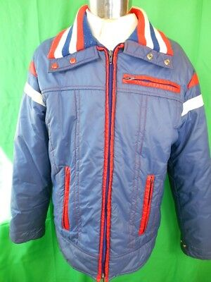 Vintage 80s 90s Blue Red White Nylon C&A Quilted Zip-Up Ski Jacket Parka Large