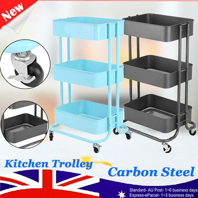 3-Tier Layer Kitchen Trolley Cart Storage Rack Wheels Castors Carbon Steel Home