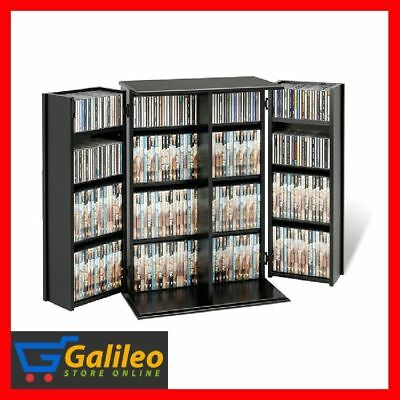 Media Storage Cabinet With Doors Drawers Cd Tower Dvd Shelf Rack Black Locking
