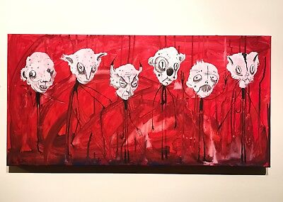Art ORIGINAL Painting GUS FINK outsider Lowbrow Abstract modern BOOGILY HEADS