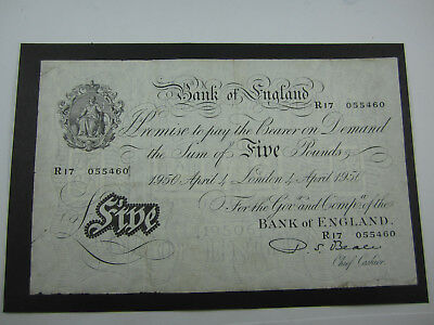 1950 Bank of England Five Pound PROMISSORY NOTE signed by BEALE R17 055460 fine