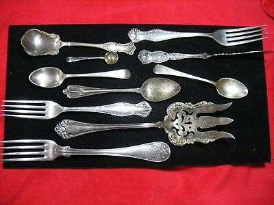 Lot of 10 mixed brands silver-plated flatware spoons, forks, serving utensils