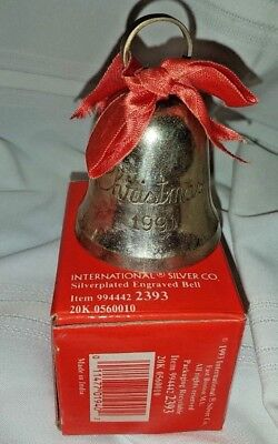 1991 Silver Plated Christmas Bell International Silver Company Home Decorations