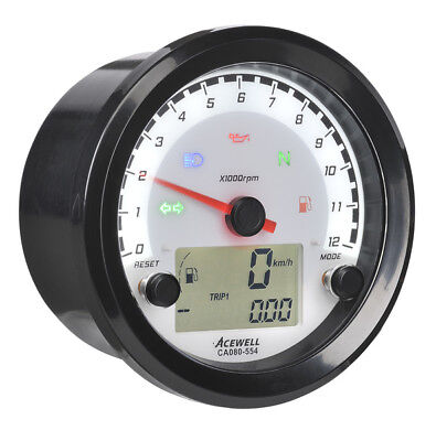 Acewell CA080-554 Digital Speedometer with Analogue Tacho to 12000rpm. Plastic b