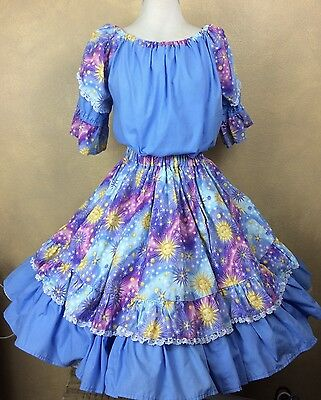 Square Dance Outfit Skirt Blouse Celestial Sun Stars Print  Blue  Homemade