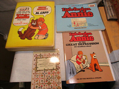 4 Little Orphan Annie Books Life & Hard Times 1935 to 1945 - Estate Listing - NR