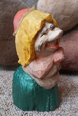 """VTG Henning Norway Scandinavian Hand Carved Wood Troll Aloha Woman Stamped 8"""""""