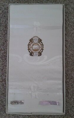 Vintage NOS Japan DAMASK Linen Tablecloth 60 X 90 + 8 Nap Ivory/Off White - NWT