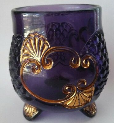 Antique EAPG Riverside Croesus Glass Footed Spooner Container Amethyst Purple