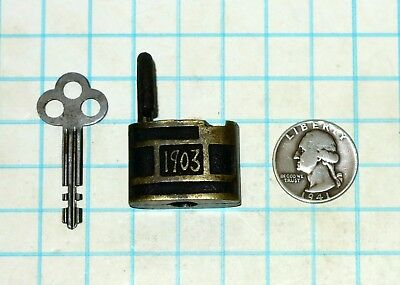 Real Vtg Antique Old Miniature Small 1903 IXL Slaymaker Lock Co Padlock and Key