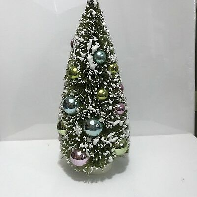 """Green Bottle Brush Christmas Tree, Pastel Ball Ornaments Frosted Sisal 9"""" tall"""