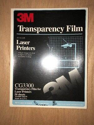 New 3M Transparency Film for Laser Copiers CG3300 - 50 Sheets Sealed USA