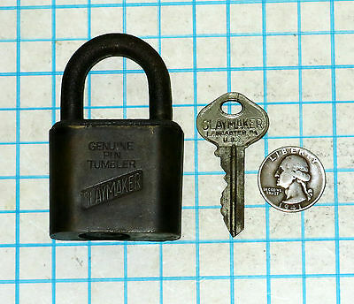 Vtg Antique Old Brass Slaymaker Lock Co Genuine Pin Tumbler Padlock and Key 1741
