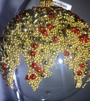 "Blown Glass Clear with Gold & Red Intricate Beading 13"" round made in Poland nwt"