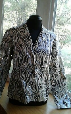 Bamboo Traders Jacket Blazer Zebra Pattern Silver and White Flocked Lined Size M