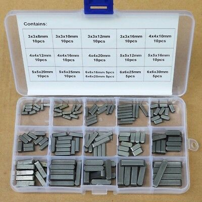 140pcs Round Ended Feather Key Drive Shaft Parallel Keys 3mm 4mm 5mm 6mm Kit