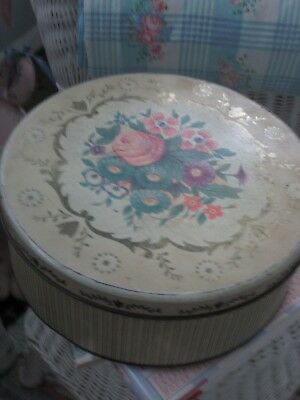 VINTAGE FLORAL CANDY BISCUIT TIN SHABBY COTTAGE CHIC CRAFT ROOM PINK ROSES 50's