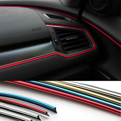 5m Car Chrome DIY Interior Mount Strip Styling Door Center Console Trim Moulding