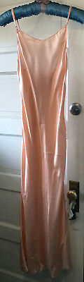 "Vintage Peach Slip Silk Bias Long Bust 32"" - 34"" Beautiful 44"" Long"