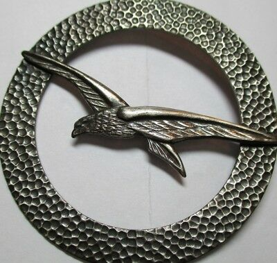 """1940s French Button """"BIRD IN FLIGHT""""Large Vintage White Metal Escutcheon Picture"""