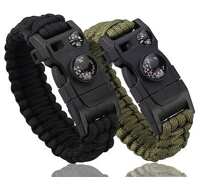 Best Survival Bracelet Outdoor Paracord Whistle Compass Temp Fire Starter Tool