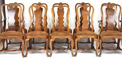 SET OF 10 Queen Anne Mahogany Dining Chairs Williamsburg Style Leather Seats
