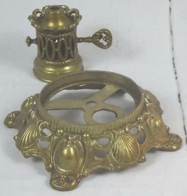 VTG Cast Metal Brass Shell Lamp Base Faux Oil Burner GWTW Victorian Ornate Parts