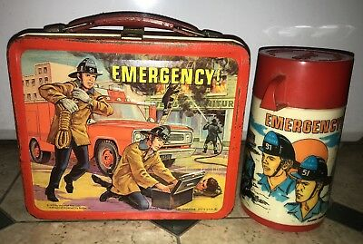 Vintage 1973 Emergency Metal Lunch Box with thermos by Aladdin