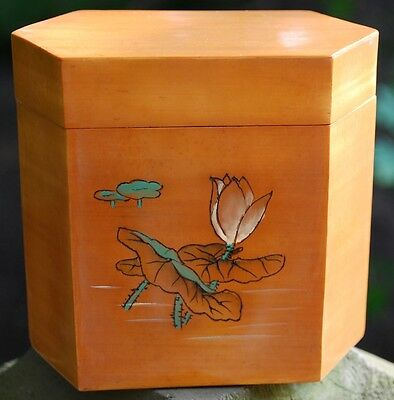 Gorgeous Vintage Yellow HAND CARVED BAMBOO Cigar Cigarette Box LOTUS FLOWER