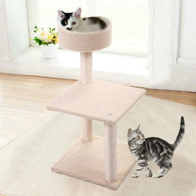 "Cat Tree 30"" Tower Condo Furniture Scratching Post Pet Kitty Play House Beige"