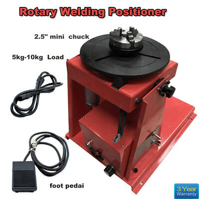 "110v Rotary Welding Positioner Turntable Table  Mini 2.5"" 3 Jaw Lathe Chuck 10KG"