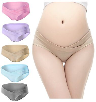 PIDAY Womens Under the Bump Cotton Maternity Hipsters Panties Multi Pack, 5 Pack