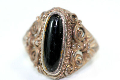 "D400 Onyx 15mm Roses Sterling 925 7/8"" Long Ring Size 7 1/2"