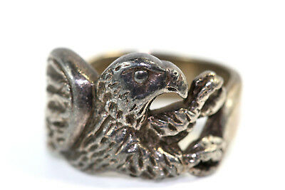 "D402 Eagle Sterling 925 1/2"" wide Ring Size 6"