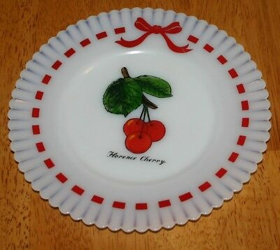 "MacBeth-Evans MONAX SALAD PLATE 8"" Red Ribbons &  Florence Cherry 1930-50's VGUC"