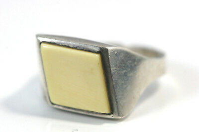 """D404 French Faux Ivory 16mm 1/2"""" wide Sterling 925 Ring Size 8"""