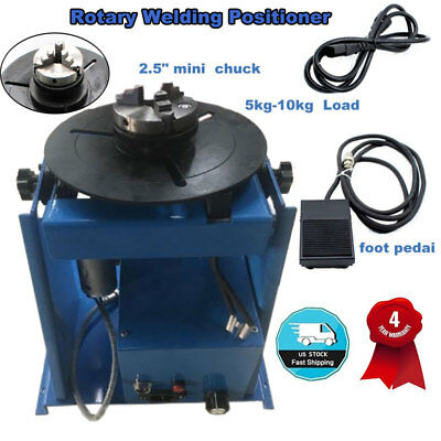 "110V Rotary Welding Positioner Turntable Table Mini 2.5"" 3 Jaw Lathe Chuck Blue"