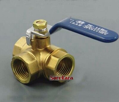 """1/2"""" 3/4"""" BSP  Female Brass T-Port Ball Valve with Lever Handle 1.6 Mpa"""