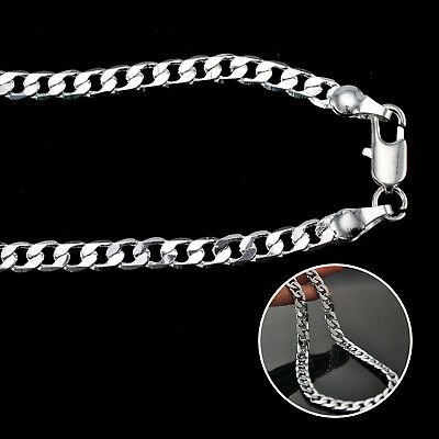 4Mm Solid 925 Sterling Silver Curb Chain Trace Necklace 18 20 22 24 30 Inch