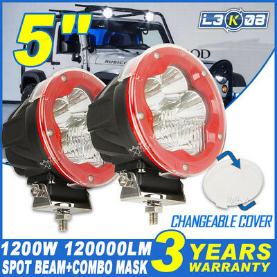 PAIR 5inch 1200W CREE LED Driving Light Work Spotlight Offroad Spot Lamp SUV HID